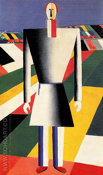 Peasant in a Field c1928 - Kasimir Malevich reproduction oil painting