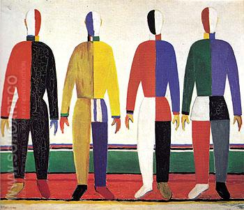 Sportsmen c1928 - Kasimir Malevich reproduction oil painting