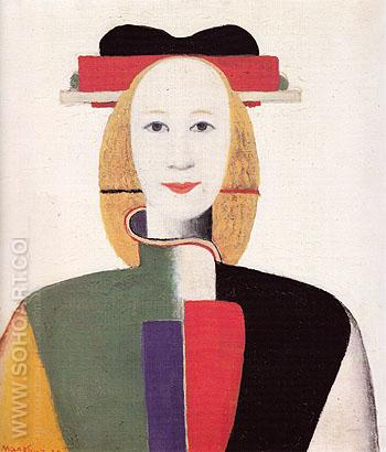 Girl with Ornamental Comb c1932 - Kasimir Malevich reproduction oil painting