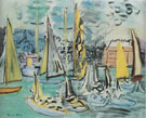 Sailing Boats in the Port at Deauville 1935 - Raoul Dufy