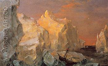 Icebergs and Wreck in Sunset c1860 - Frederic E Church reproduction oil painting