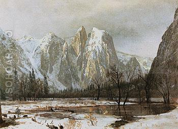 Cathedral Rocks Yosemite Valley Cailfornia 1872 - Albert Bierstadt reproduction oil painting