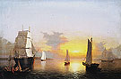View of Gloucester Harbor late c1850 - Fitz Hugh Lane reproduction oil painting
