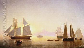 Becalmed off Halfway Rock 1860 - Fitz Hugh Lane reproduction oil painting