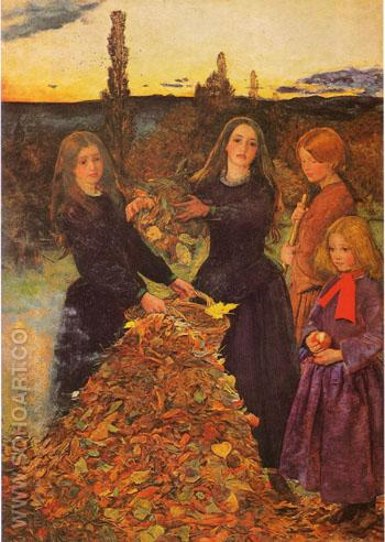 Autumn Leaves c1855 - John Everett Millais reproduction oil painting