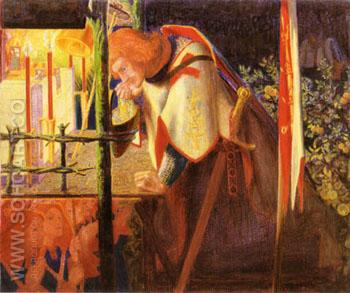 Sir Galahad at the Ruined Chapel 1859 - Dante Gabriel Rossetti reproduction oil painting