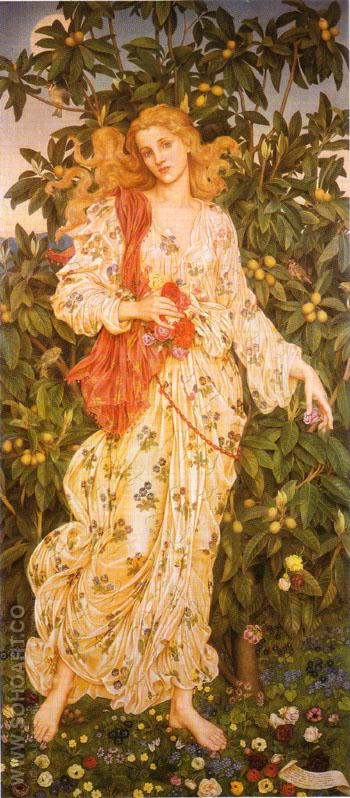 Flora the Goddess of Blossoms and Flowers c1880 - Evelyn de Morgan reproduction oil painting