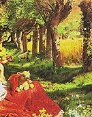 Detail from The Hireling Shepherd 1851 - William Holman Hunt reproduction oil painting