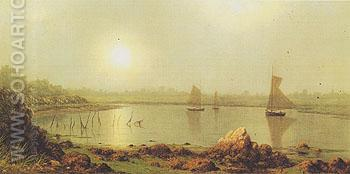 York Harbor Coast of Maine 1877 - Martin Johnson Heade reproduction oil painting