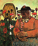 Old Woman from the Poorhouse in the Garden with a Glass Ball Poppies 1907 - Paula Modersohn-Becker reproduction oil painting