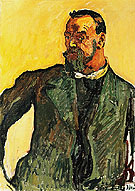 Self Portrait in Green Smock 1917 - Ferdinand Hodler reproduction oil painting