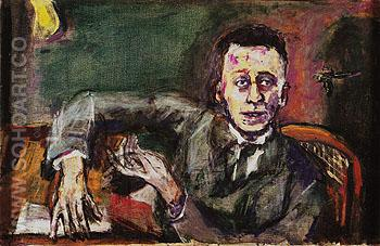 Portrait of Karl Kraus II 1925 - Oskar Kokoshka reproduction oil painting