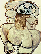 Squatting Nude 1971 - Pablo Picasso reproduction oil painting