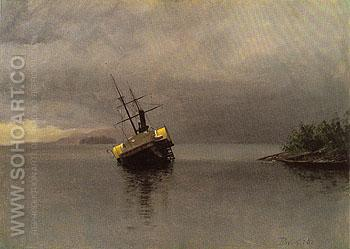 Wreck of the Ancon in Loring Bay Alaska 1889 - Albert Bierstadt reproduction oil painting