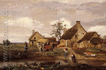 Farm at Recouvrieres Nievre 1831 - Jean-baptiste Corot reproduction oil painting