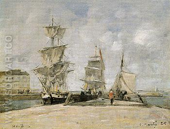 Harbour at Honfleur 1865 - Eugene Boudin reproduction oil painting