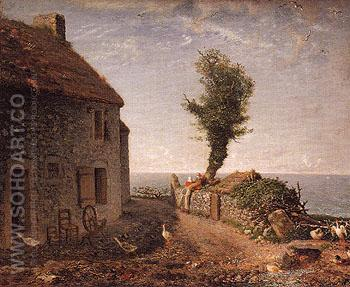 End of the Hamlet of Gruchy 1866 - Jean Francois Millet reproduction oil painting