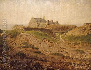 Priory at Vauville Normandy c1872 - Jean Francois Millet reproduction oil painting