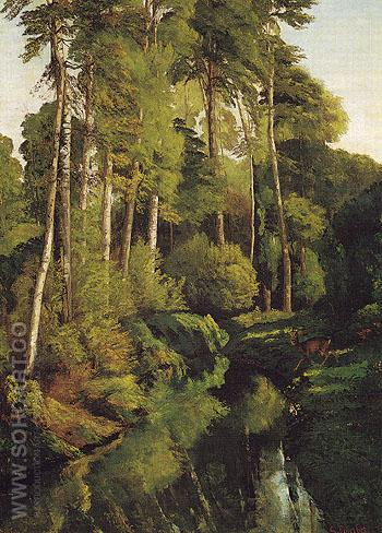 Stream in the Forest 1862 - Gustave Courbet reproduction oil painting