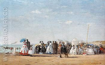 Fashionable Figures on the Beach 1865 - Eugene Boudin reproduction oil painting