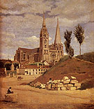 Chartres Cathedral 1830 - Jean-baptiste Corot reproduction oil painting