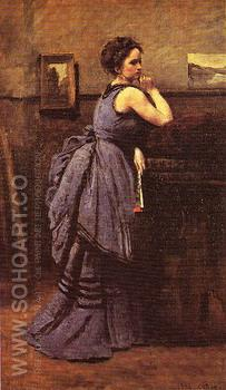Woman in Blue 1874 - Jean-baptiste Corot reproduction oil painting