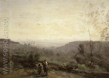 Horseman Setting Sun 1853 - Jean-baptiste Corot reproduction oil painting