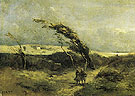 Windswept Landscape c1865 - Jean-baptiste Corot reproduction oil painting