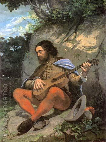 Young Man in a Landscape or The Guitarrero 1844 - Gustave Courbet reproduction oil painting