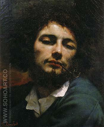 Self Portrait Man with Pipe c1848 - Gustave Courbet reproduction oil painting