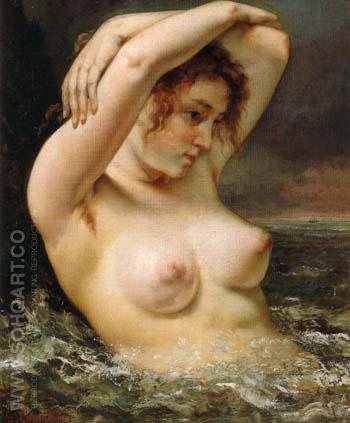 The Woman in the Waves 1868 - Gustave Courbet reproduction oil painting