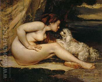 Nude Woman with Dog 1868 - Gustave Courbet reproduction oil painting