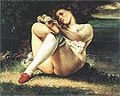 Woman with White Stockings c1861 - Gustave Courbet reproduction oil painting