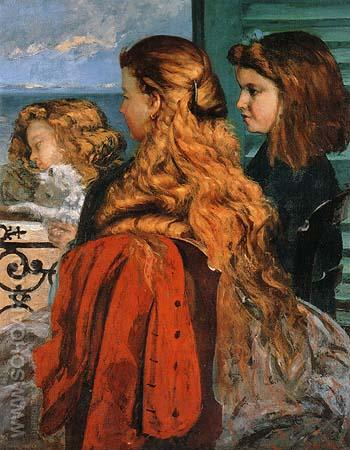 Three English Girls at a Window 1865 - Gustave Courbet reproduction oil painting