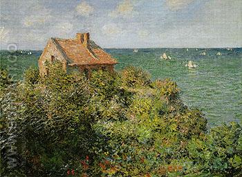 Fishermans Cottage on the Cliffs at Varengeville 1882 - Claude Monet reproduction oil painting