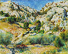 Rocky Crags at Lestaque 1882 - Pierre Auguste Renoir reproduction oil painting