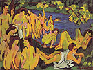 Bathers at Moritzburg c1909 - Ernst Kirchner reproduction oil painting