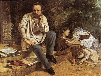 The Proudhon Family in 1853 - Gustave Courbet reproduction oil painting