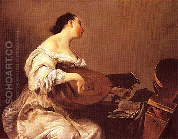 Woman Playing a Lute c1700 - Guiseppe M Crespif Del Cairo reproduction oil painting