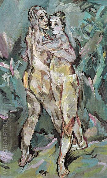 Two Nudes Lovers c1912 - Oskar Kokoshka reproduction oil painting