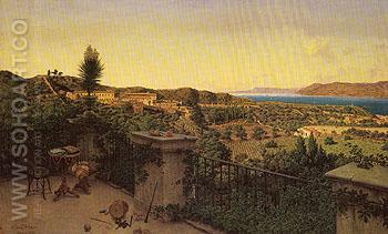 View of the Straits of Messina from a Country House 1859 - Niels Emil Severin Holm reproduction oil painting