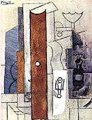 Guitar Gas Jet and Bottle 1913 - Pablo Picasso reproduction oil painting