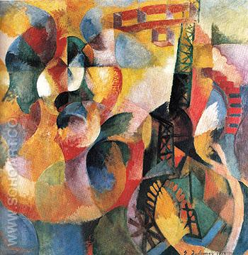 Sun Tower Aeroplane Simultaneous 1913 - Robert Delaunay reproduction oil painting