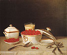 Strawberries Cream and Sugar 1850 - John F Francis reproduction oil painting