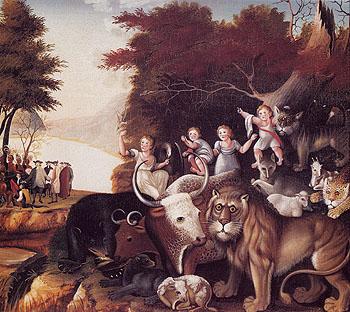 Peaceable Kingdom c1830 - Edward Hicks reproduction oil painting