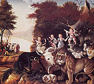 Peaceable Kingdom c1830 - Edward Hicks reproduction oil painting