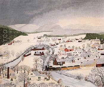 Hoosick Falls NY In Winter 1944 - Grandma Moses reproduction oil painting