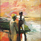 Two Figures at the Seashore 1957 - Elmer Bischoff reproduction oil painting
