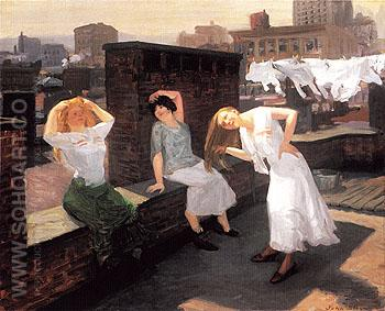 Sunday Women Drying Their Hair 1912 - John Sloan reproduction oil painting