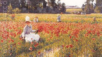 In Flanders Field Where Soldiers Sleep and Poppies Grow 1890 - Robert Vonnoh reproduction oil painting